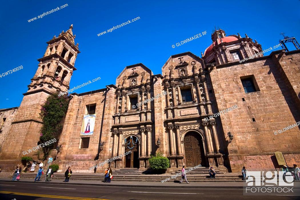 Stock Photo: Low angle view of a church, Templo De Las Monjas, Morelia, Michoacan State, Mexico.