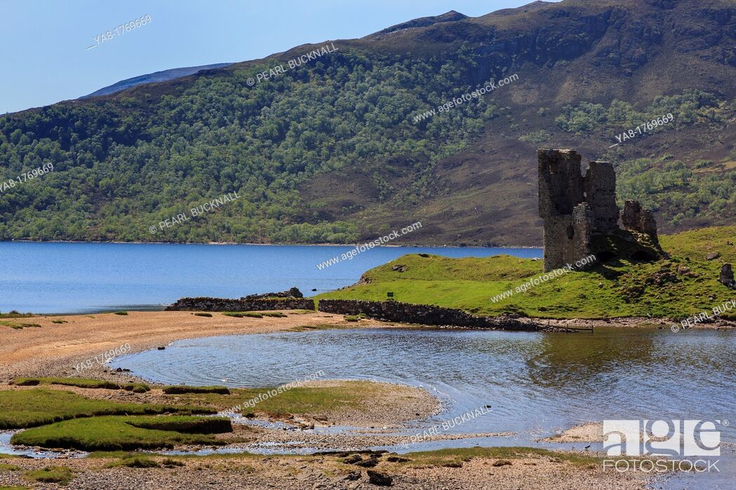Stock Photo: Inchnadamph, Sutherland, Highland Region, Scotland, UK, Britain, Europe  Ardvreck castle ruins on the shore of Loch Assynt in Scottish highlands.