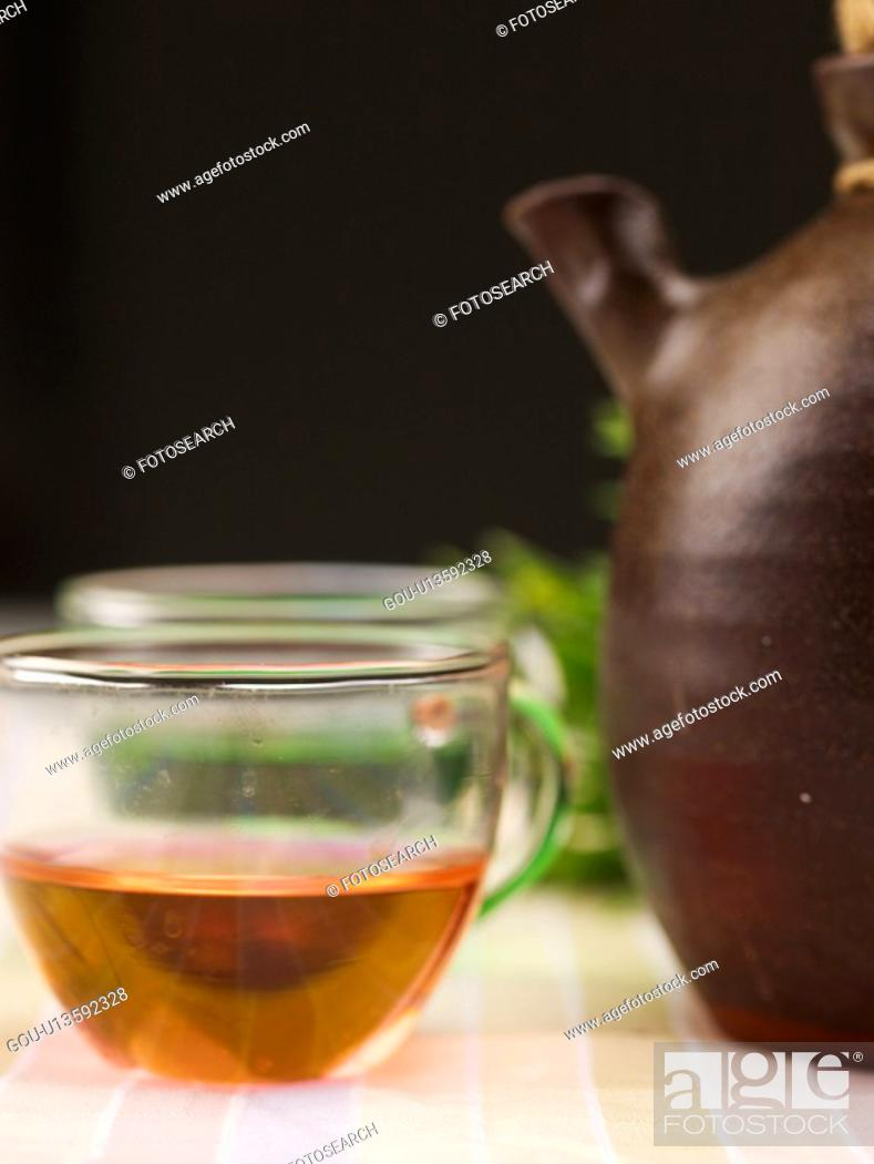 Stock Photo: cuisine, glass cup, food, plant, flower, tea-things.