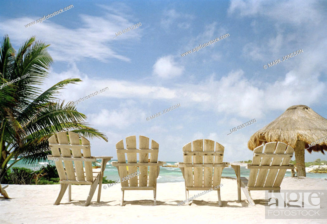 Stock Photo: Palm beach, deck chairs, empty, %0AMeerblick, %0A%0AStrand, sand, palms, beach, parasol, sun chairs, unused, symbol, abandoned, suns.