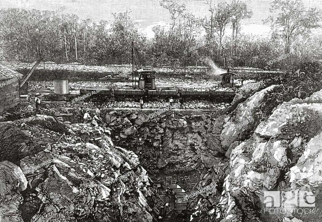 Stock Photo: Airlock digging works at the Isthmus of Panama, lock nº 1 Bohio. June 7, 1888. Central America. Old 19th century engraved illustration from La Nature 1889.