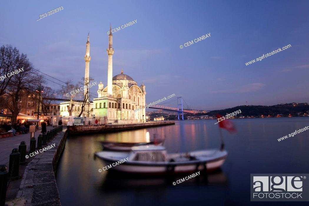 Stock Photo: Ortakoy Mecidiye mosque and Bosphorus bridge, Istanbul, Turkey, Europe.