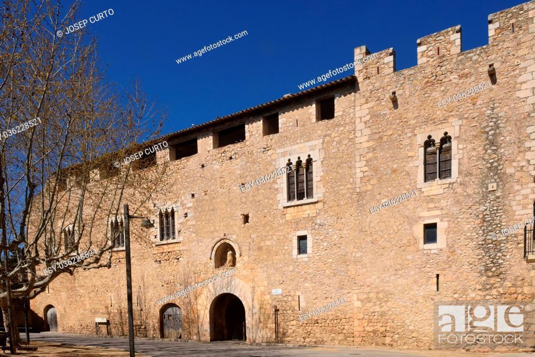 Stock Photo: Palace abbot at the Monastery of Santa Maria de Vilabertran, Alt Emporda, Girona province, Spain.