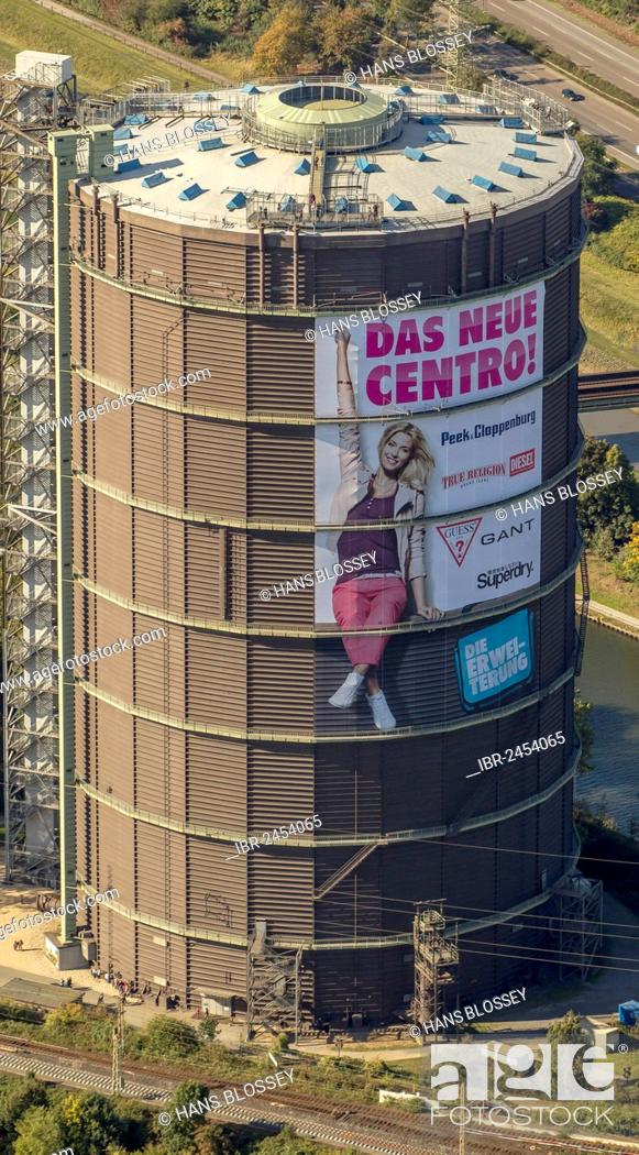 online retailer c7dc2 fab88 Aerial view, Gasometer with advertising for Centro ...