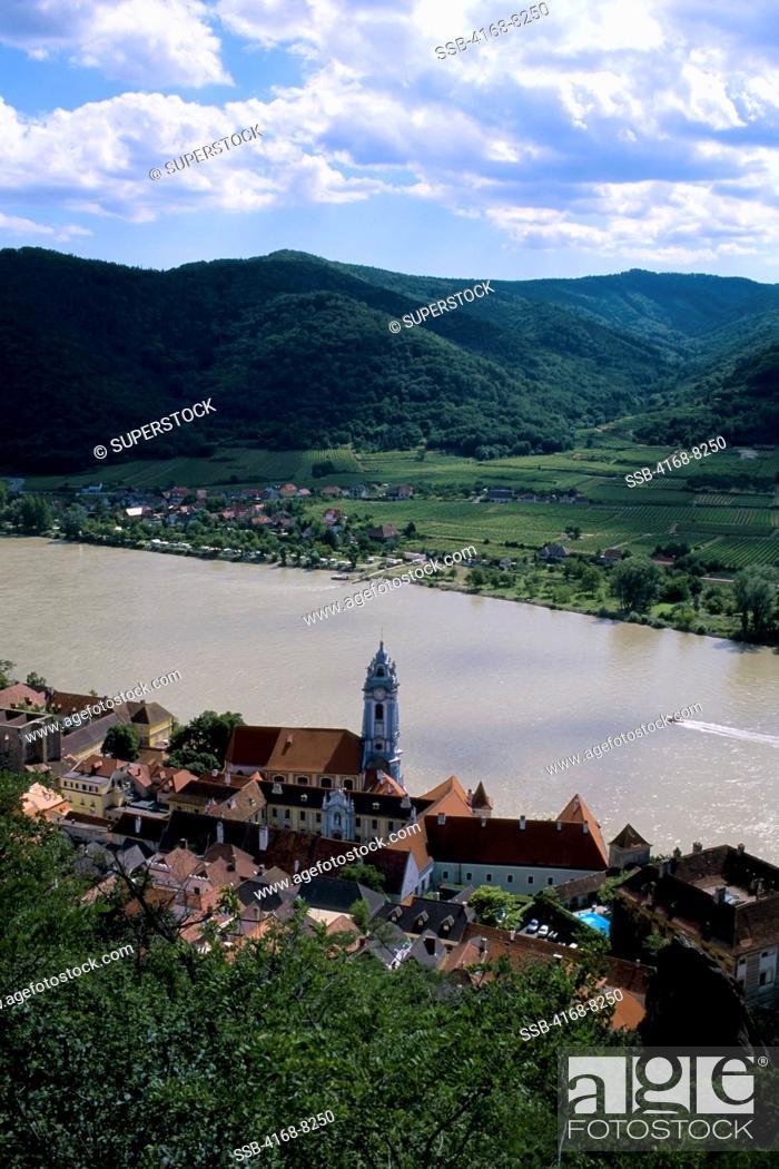 Stock Photo: Austria, Wachau Valley, Village Durnstein on Danube River.