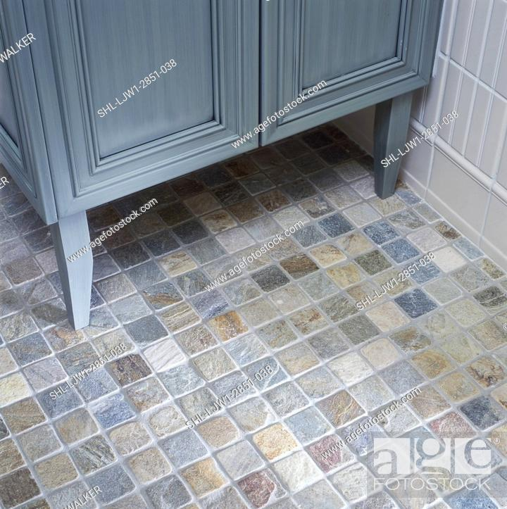 Bathroom Detail Stone Tile Floor Sage Green Cabinet Wall