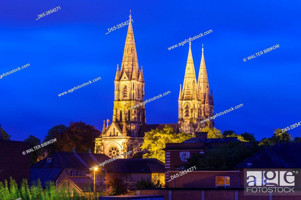 Stock Photo: Ireland, County Cork, Cork City, St. Fin Barre's Cathedral, dawn.