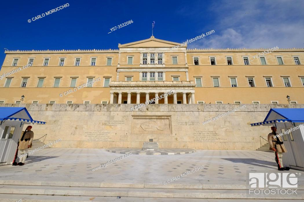 Stock Photo: Old Royal Palace, house of Hellenic Parliament, Syntagma Square, Athens, Greece, Europe.