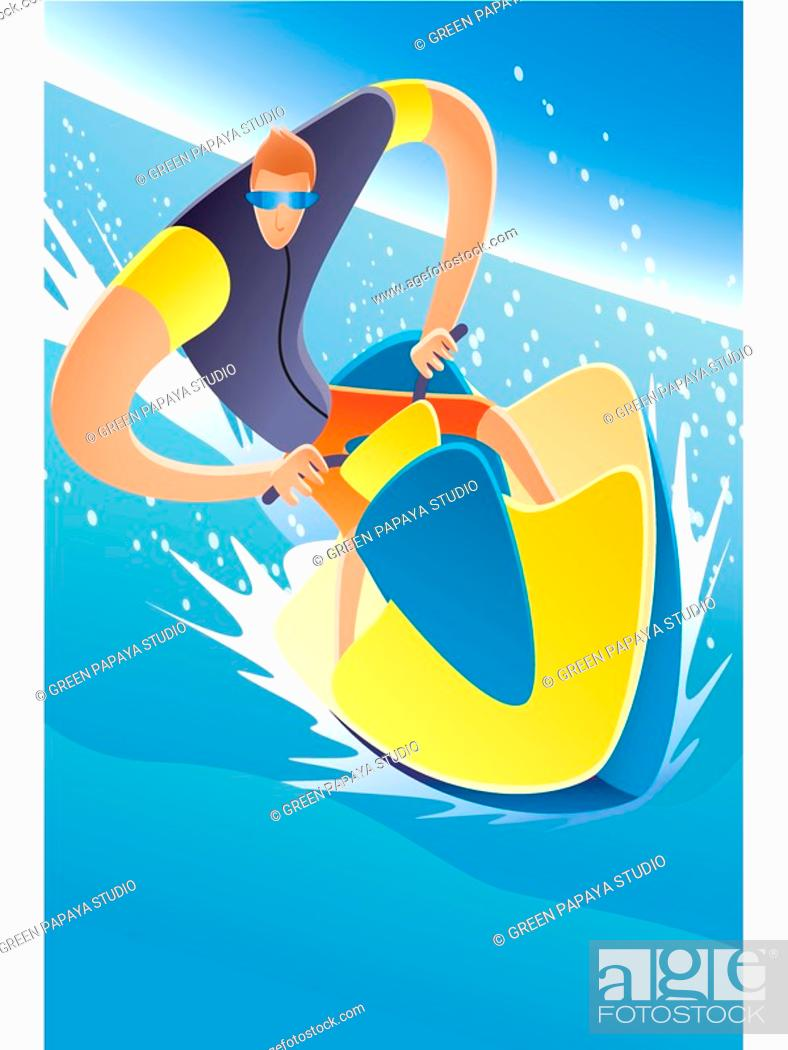 Stock Photo: Illustration of a man on jet ski.
