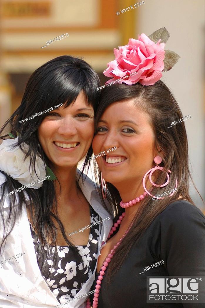 Stock Photo: Girls in traje de gitana , Feria de Caballo , Jerez de la Frontera , Cadiz , Andalusia , Spain , Europe.