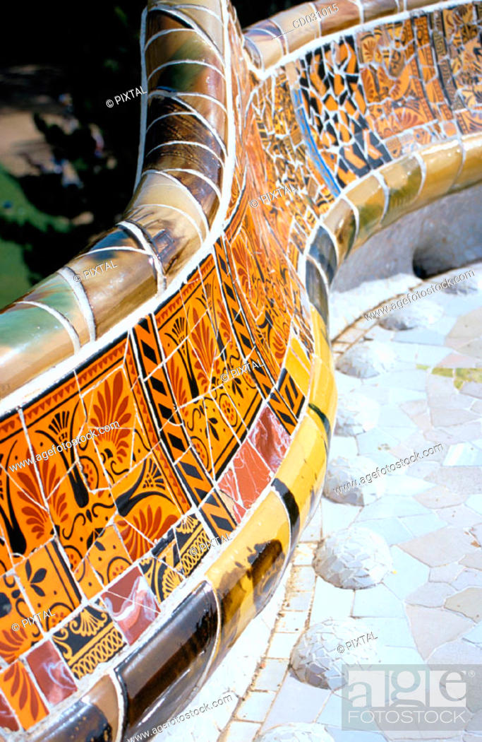 Stock Photo: Detail of decoration of the balcony at Güell Park (Gaudí, 1900-1914). Barcelona. Spain.