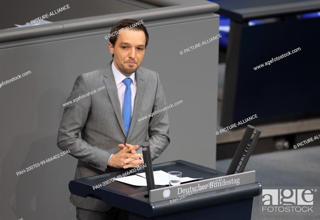Stock Photo: 03 July 2020, Berlin: Benjamin Strasser (FDP) speaks in the plenary session of the German Bundestag. The main topics of the 171st session of the 19th.