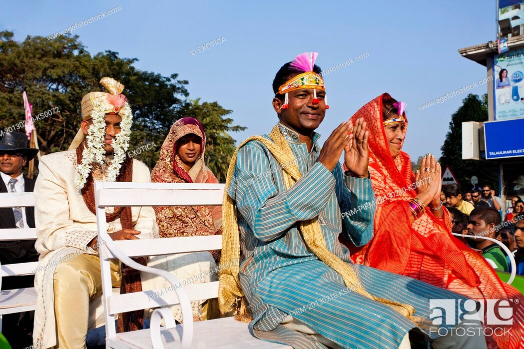 Stock Photo: Glimpse of brides and grooms at traditional procession in a carnival Goa Carnivals, Goa, India.