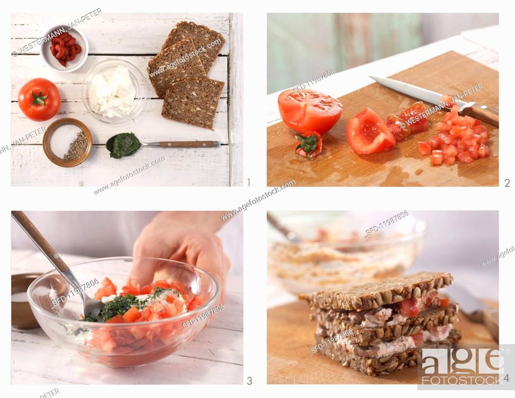 Stock Photo: How to prepare ricotta & tomato sandwiches.