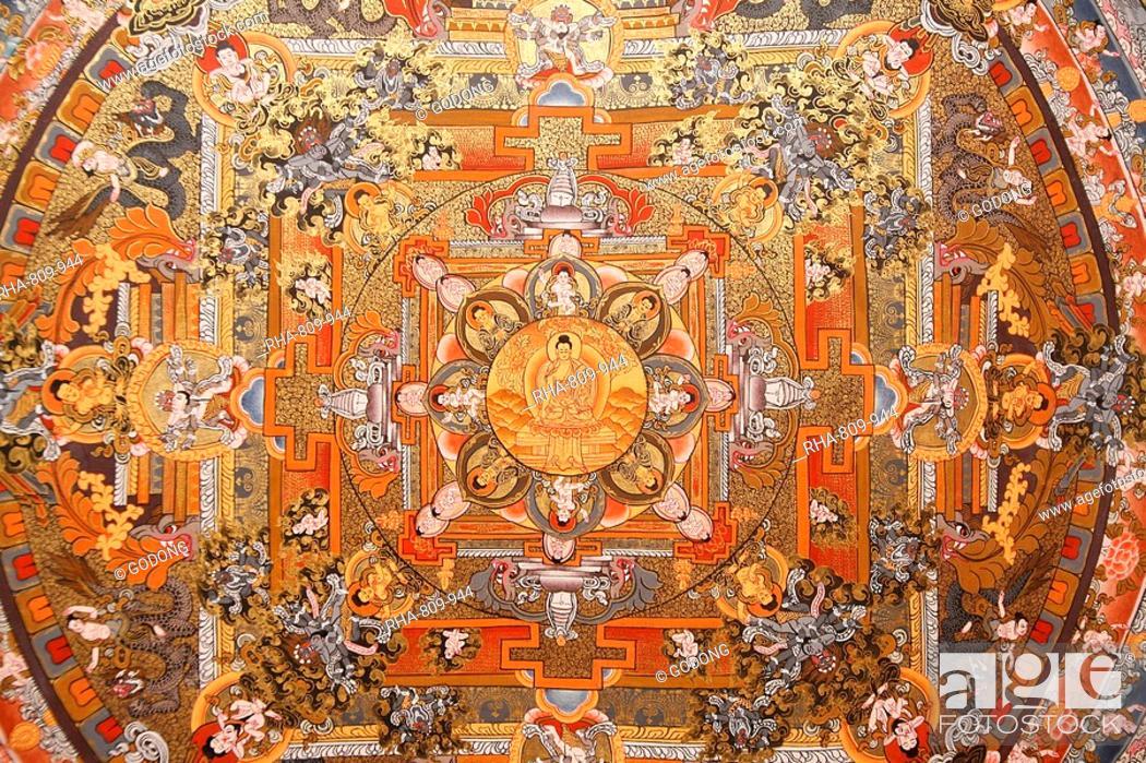 Stock Photo: Mandala on a thangka, Bhaktapur, Nepal, Asia.