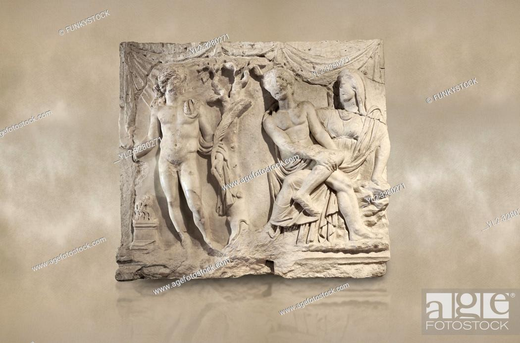 Imagen: Roman relief sculpture of the Myth of Adonis. Roman 2nd century AD, Hierapolis Theatre. . Hierapolis Archaeology Museum, Turkey.