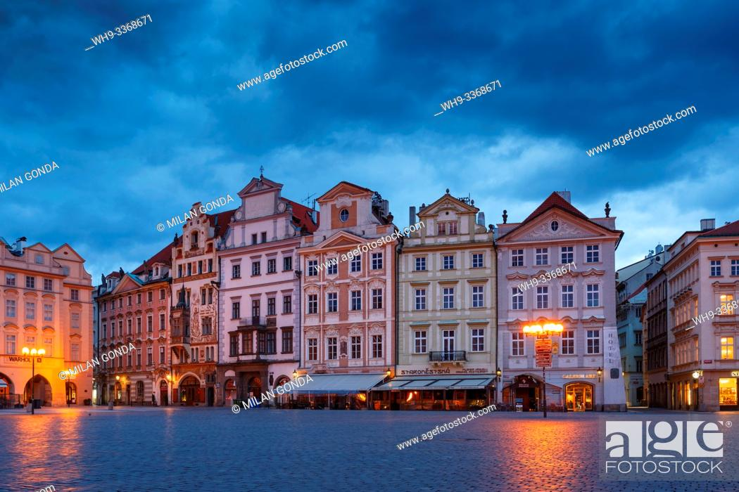 Stock Photo: Prague, Czech Republic - March 15, 2019: Dawn in the Old Town Square in the historical city centre of Prague.