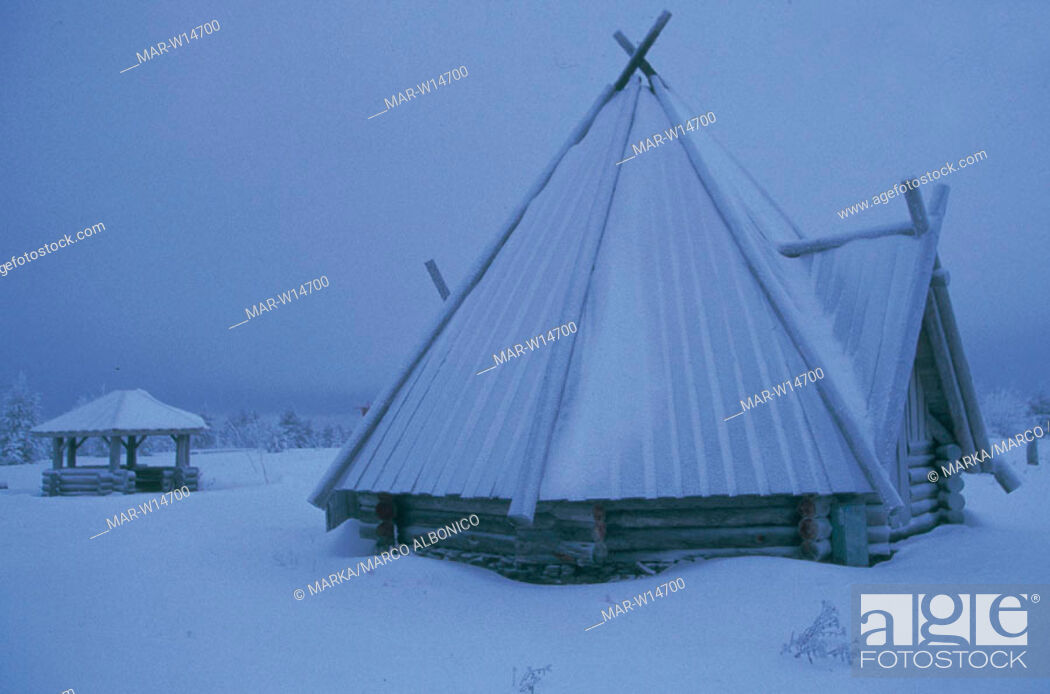 Stock Photo: traditional house under the snow, rovaniemi, finland.