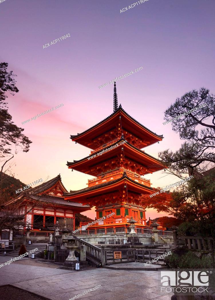 Stock Photo: Kiyomizu-dera, Sanjunoto pagoda in Kyoto in beautiful morning sunrise scenery. Kiyomizu-dera Buddhist temple, Higashiyama, Kyoto, Japan 2017.