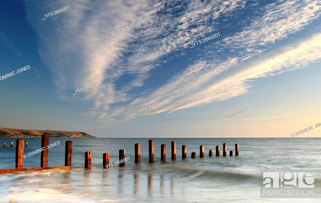 Stock Photo: Dusk approaches the Welsh coast, Barmouth , Wales, Europe.