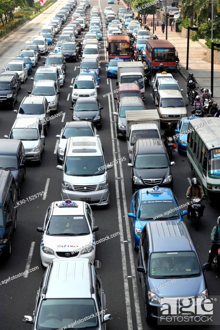 Stock Photo: View from above with traffic jam on Jalan Sudirman, Jakarta, Java, Indonesia, Southeast Asia.