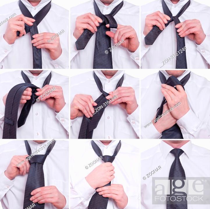 Stock Photo: Schritt für Schritt wird eine Windsorknoten an einer Krawatte von zwei Händne gebunden.