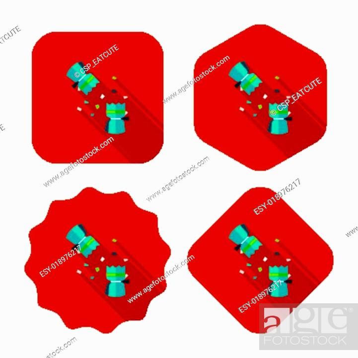 Christmas Cracker Vector.Christmas Cracker Flat Icon With Long Shadow Eps10 Stock