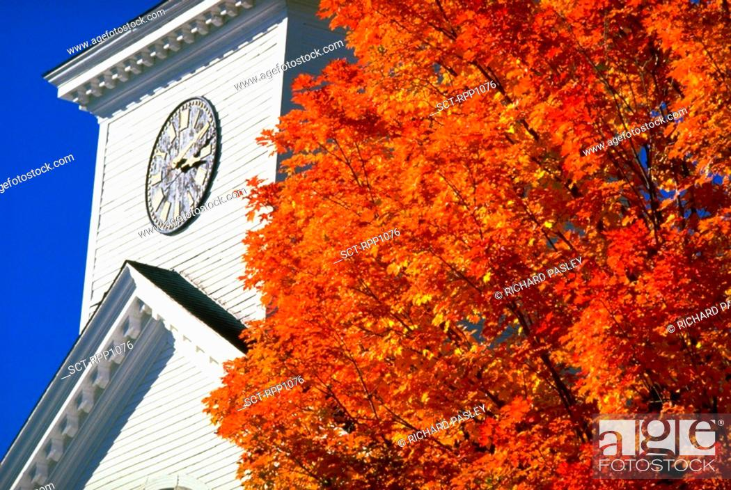 Stock Photo: Greenfield, New Hampshire, New England--abstract church steeple, large tree w/ red/orange leaves FG, fall foliage.