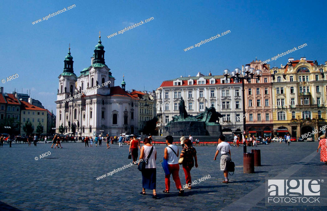 Stock Photo: Church St. Niklas at old town square Prague Czechia.