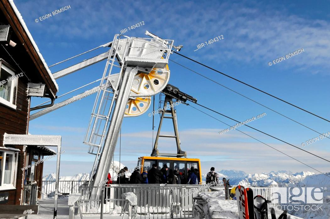 Stock Photo: Rope guide of the Nebelhorn Cable Car on the summit station, Mt Nebelhorn, 2224m, Oberstdorf, Allgaeu, Bavaria, Germany, Europe.