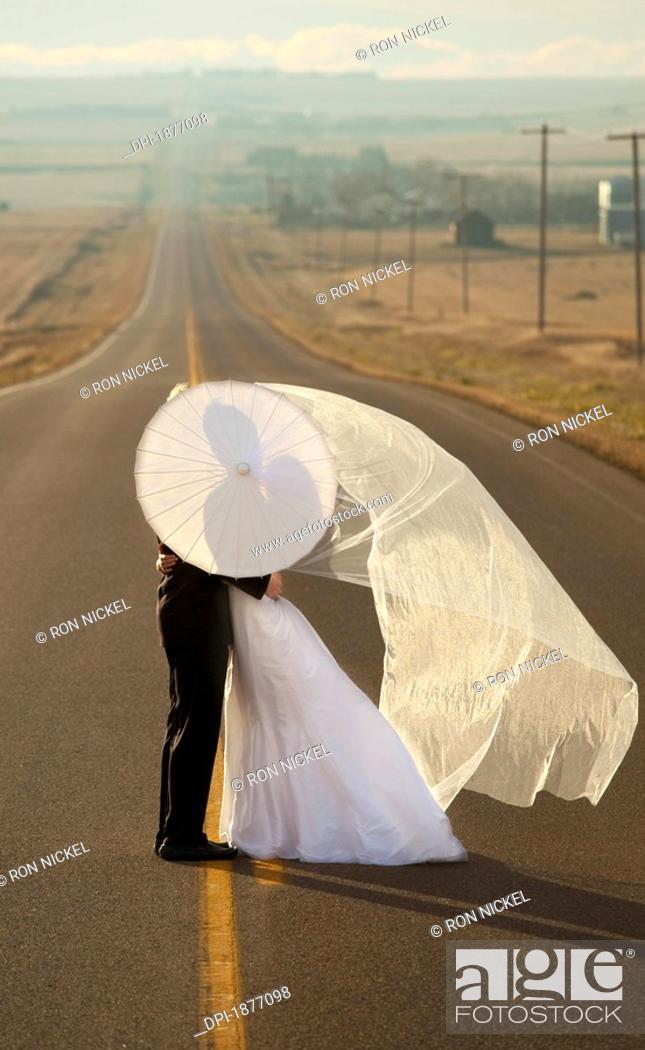 Stock Photo: threehills, alberta, canada, bride and groom posing on a rural road.