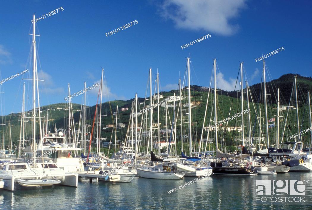 Stock Photo: Tortola, sunrise, British Virgin Islands, Road Town, Caribbean, BVI, Boats docked in Road Bay in Road Town on the island of Tortola.