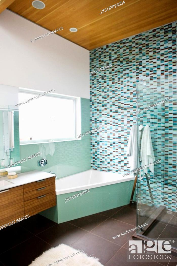 Stock Photo: Brown and turquoise bathroom.