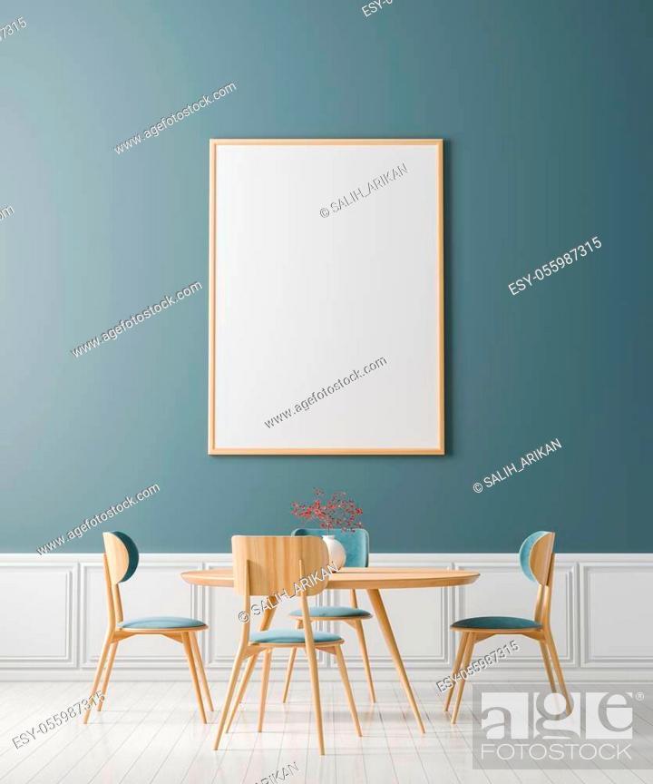 Stock Photo: Mock up poster frame in Scandinavian style dining room. Minimalist dining room design. 3D illustration.