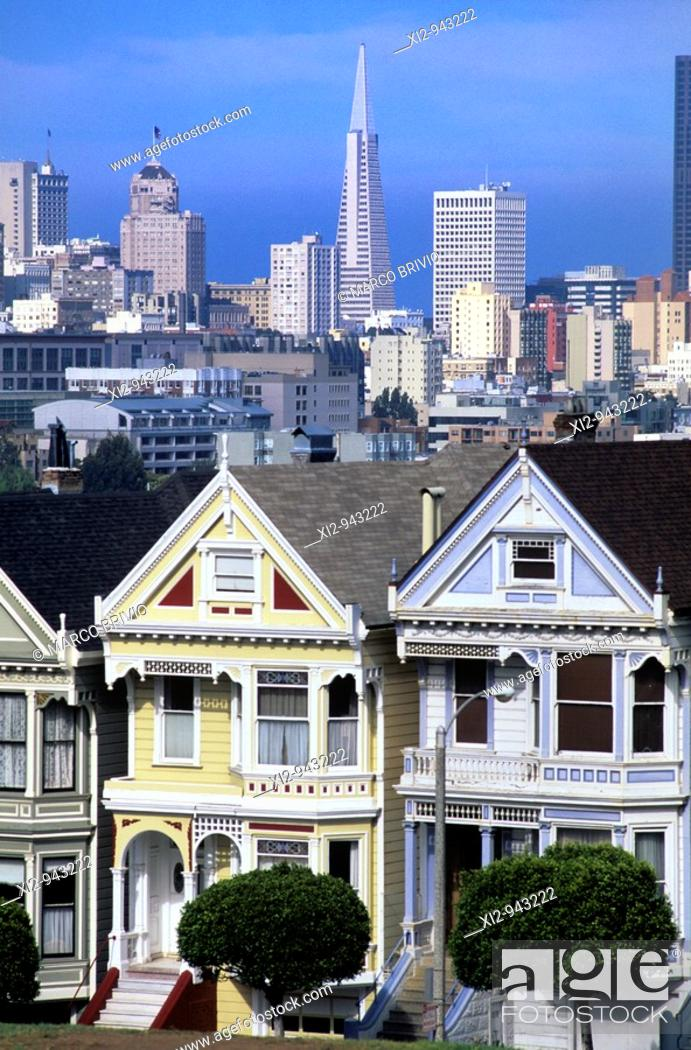 Stock Photo: Old victorian houses called the Painted Ladies and the San Francisco Skyline in California.
