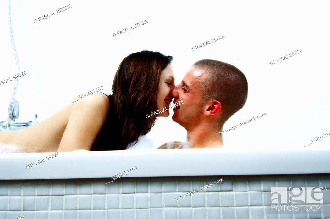 Stock Photo Side Profile Of A Young Kissing In The Bathroom