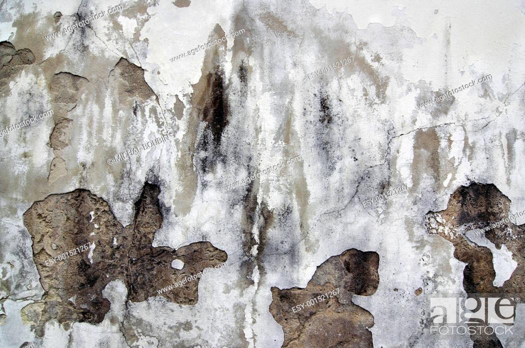 Stock Photo: old cracked stucco.