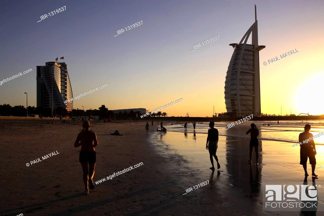 Burj Al Arab And Dubai Hotels Beach Sunset United