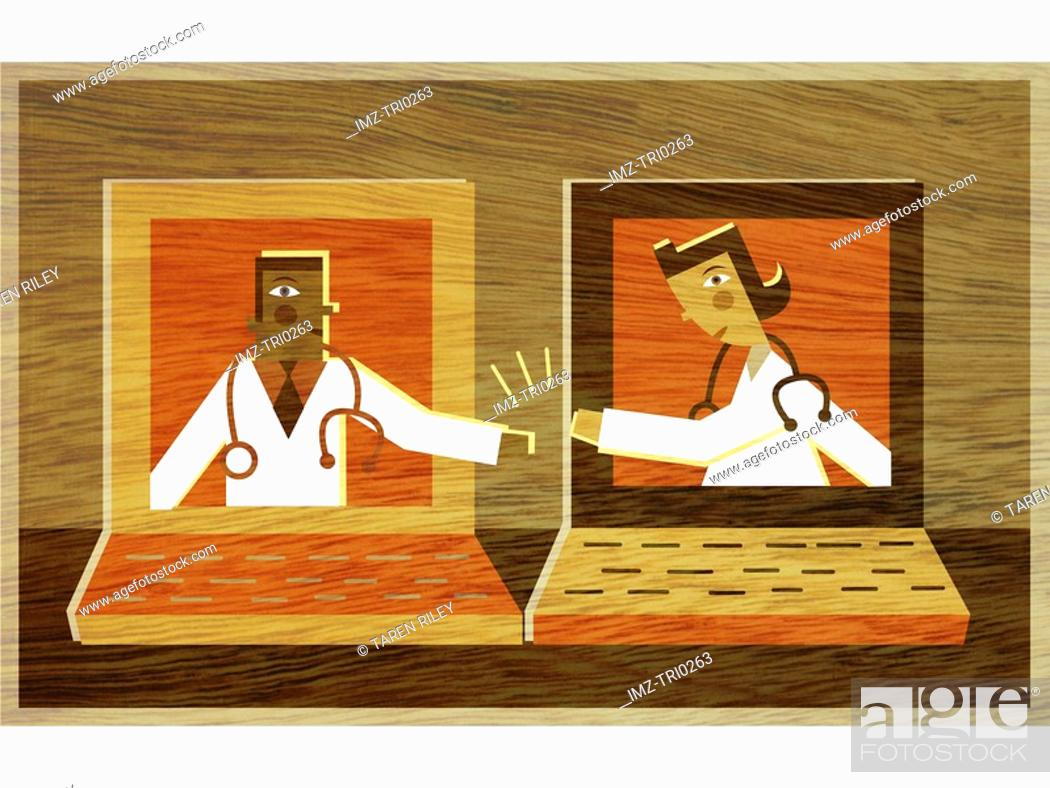 Stock Photo: Two doctors in different lap top screens high fiving each other.
