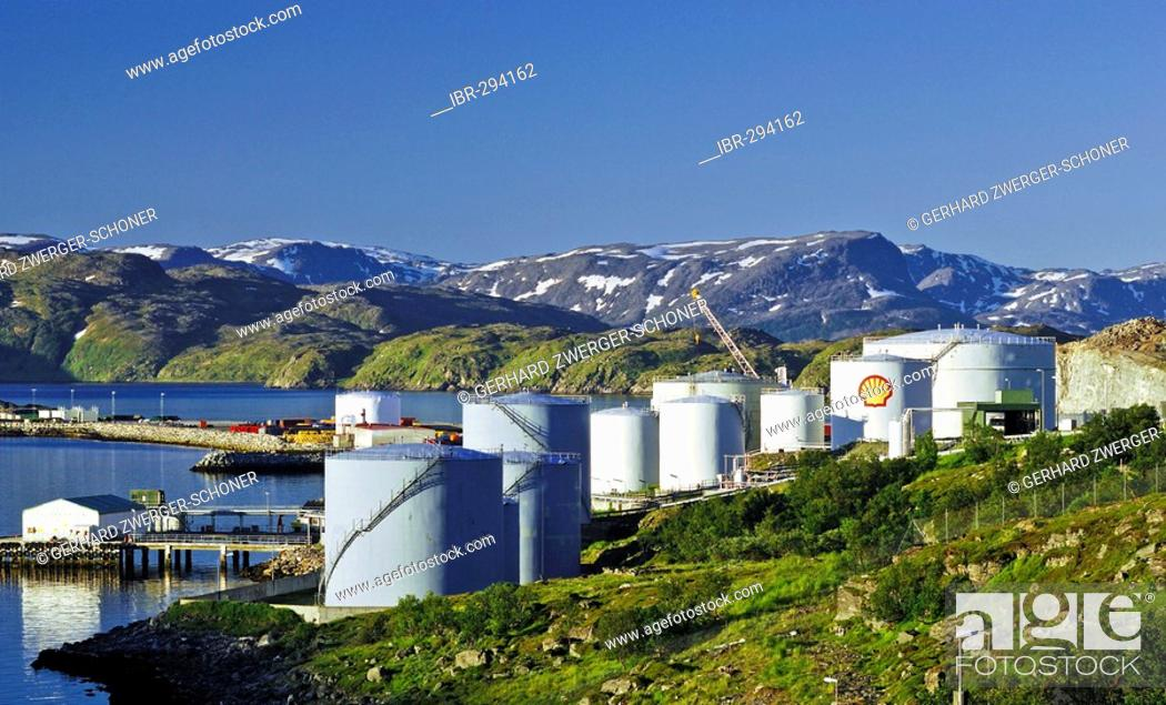 Stock Photo: Oil tanks near Hammerfest, Northern Norway, Norway.