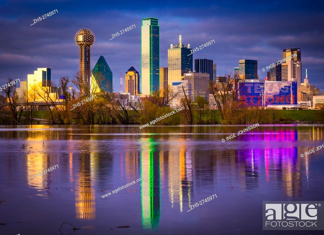 Stock Photo: Downtown Dallas, Texas reflecting in the Trinity River.