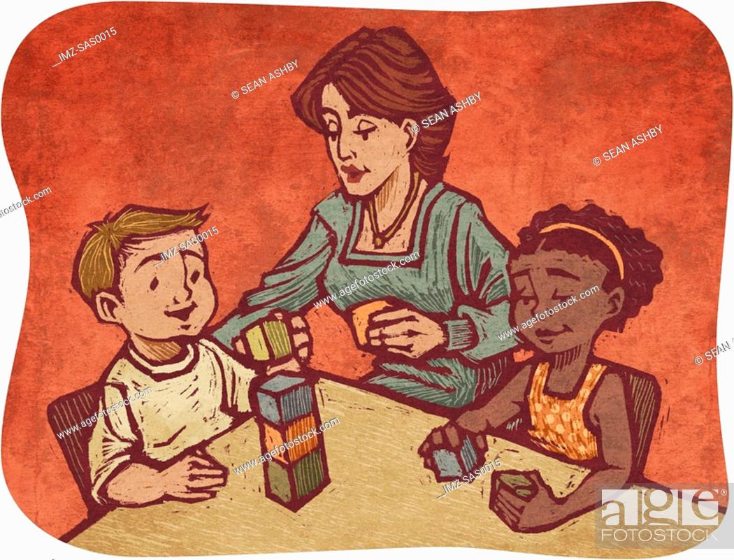 Stock Photo: A child care worker playing blocks with two children.