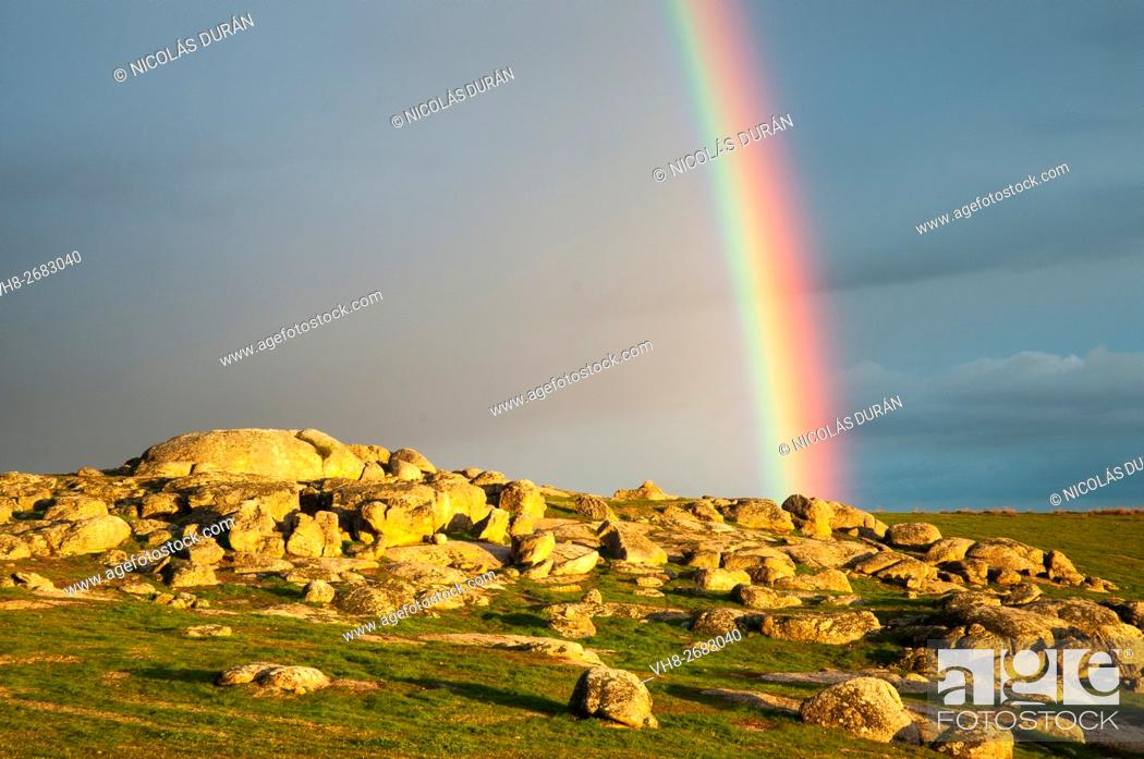 Stock Photo: Sky with rainbow in the region of Los Baldíos. Alburquerque. Province of Badajoz. Extremadura. spain.