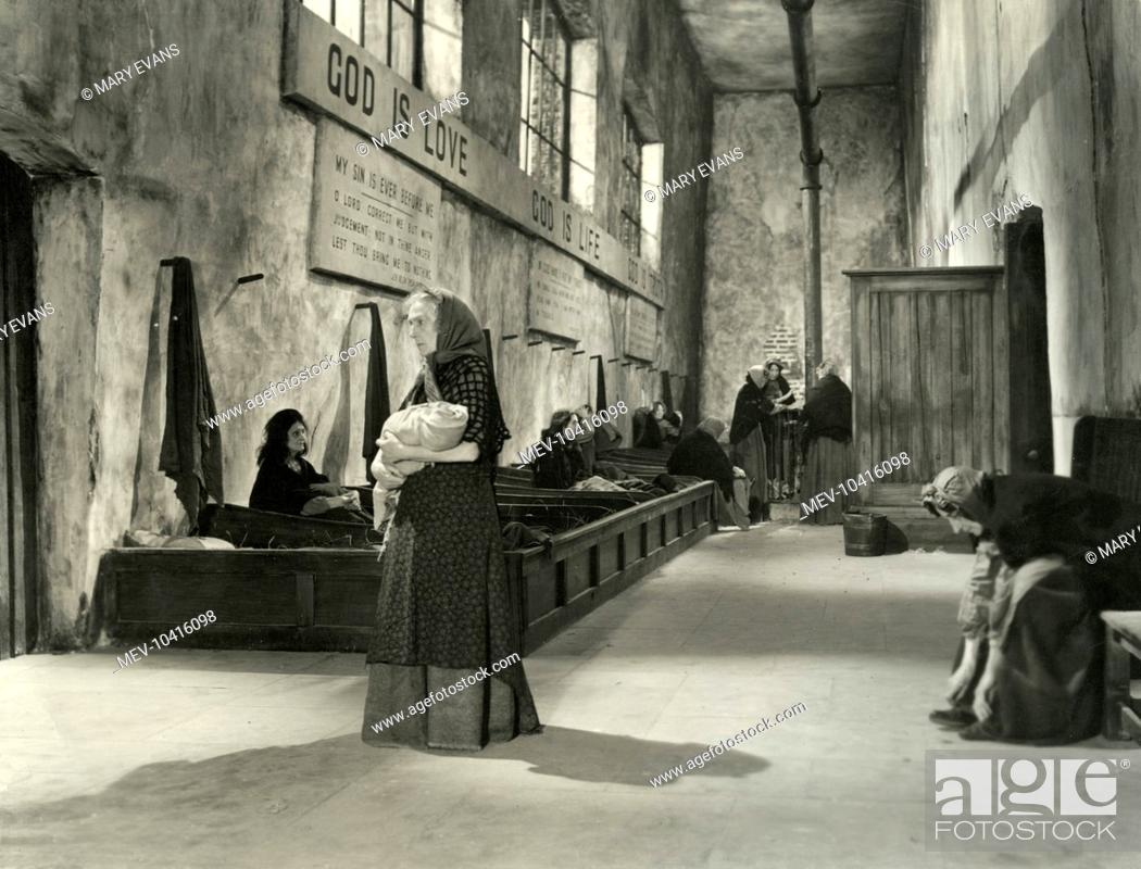 A workhouse interior from the 1948 film of Oliver Twist, directed by