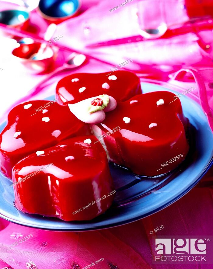 Stock Photo: vanilla and strawberry ice cream cake.