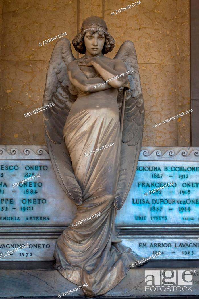 Stock Photo: Angel sculpture by Giulio Monteverde for the Oneto family monument in Staglieno Cemetery, Genoa - Italy (1882).