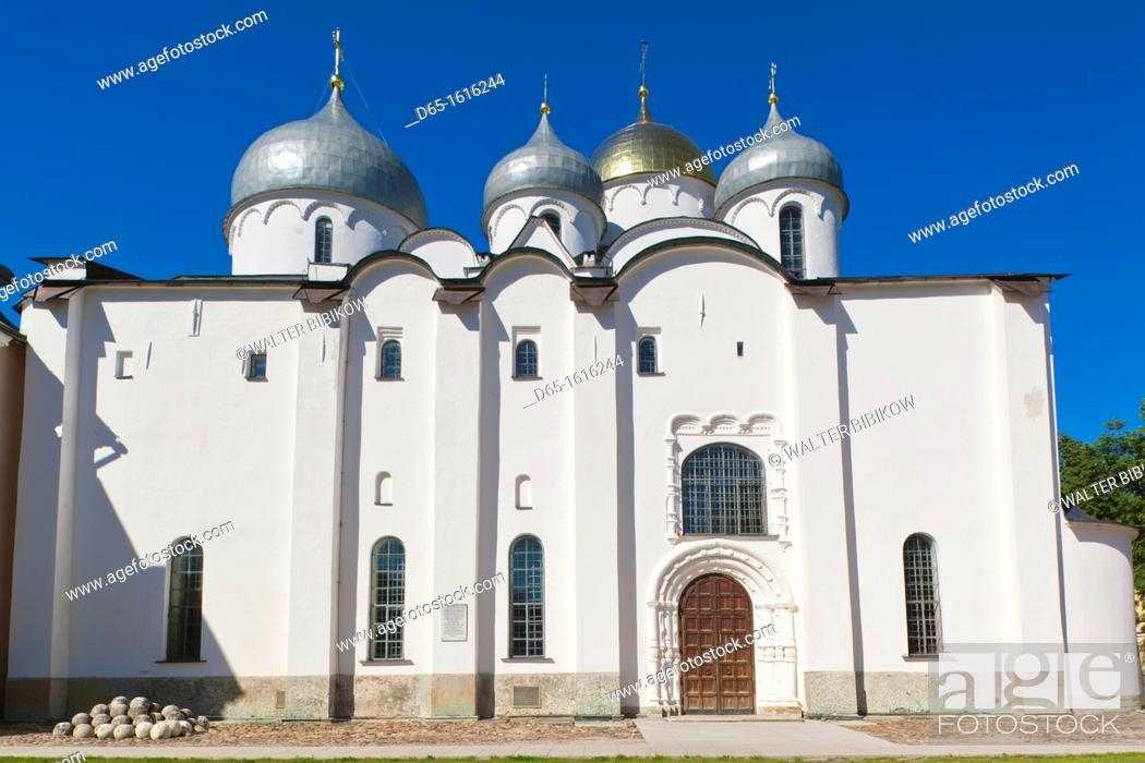 Stock Photo: Russia, Novgorod Oblast, Veliky Novgorod, Novgorod Kremlin, Saint Sofia Cathedral.