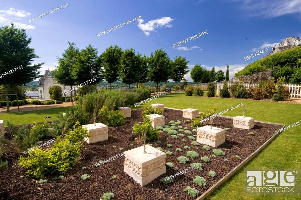 Stock Photo: France, Indre et Loire, Loire Valley listed as World Heritage by UNESCO, chateau d'Amboise, Jardin d'Orient Oriental garden or Garden of the Emir Abd-el-Kader.