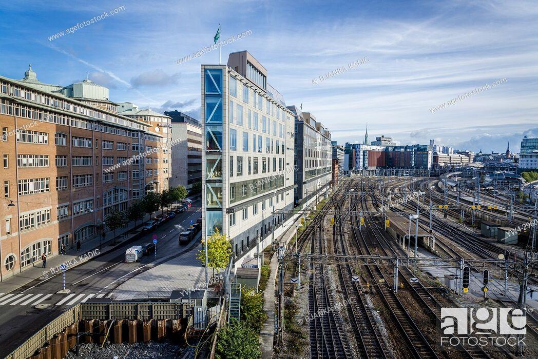 Stock Photo: Railway lines along, Torsgatan, Stockholm, Sweden.