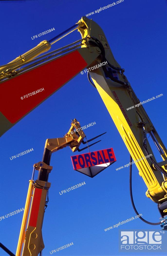 Stock Photo: Detail of telescopic forklift and hydraulic arms.